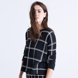 Madewell Double Windowpane plaid sweater size M